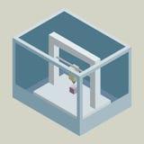 传染媒介3D打印机标志 皇族释放例证