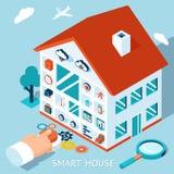 传染媒介3d聪明的家庭概念 议院控制按钮 皇族释放例证
