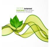 传染媒介eco叶子和绿色波浪 向量例证