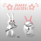 传染媒介EPS10复活节例证兔子字符 库存照片