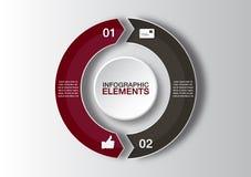 传染媒介infographic的圈子箭头 图、图表、介绍和图的模板 与2个选择的企业概念 免版税库存图片
