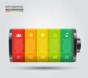 传染媒介infographic的电池元素 免版税库存图片
