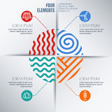 传染媒介infographics与四个元素的设计模板 免版税库存图片