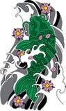 传染媒介koi鱼纹身花刺 免版税图库摄影