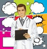 传染媒介Man With Clipboardr医生和泡影讲话 免版税库存照片