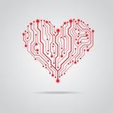 传染媒介PCB红色心脏设计 免版税库存图片