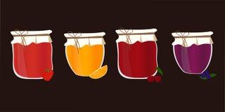 传染媒介setwith自创果酱 果子蜜饯 免版税库存图片