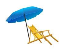 传染媒介sunbeds遮阳伞被描述仿照舱内甲板样式 库存图片