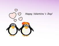 传染媒介valentineÂ的与企鹅的天卡片 免版税库存图片