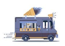 传染媒介van illustration 减速火箭的葡萄酒冰淇凌卡车 免版税库存图片