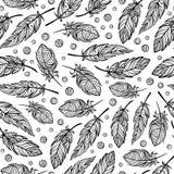 传染媒介zendoodle用羽毛装饰无缝的样式 库存图片