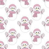 传染媒介zentangle雪人无缝的样式 手拉的圣诞节 库存例证