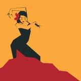 传神印象深刻的姿势的佛拉明柯舞曲舞蹈家 简明的Minimalistic 皇族释放例证