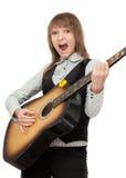 传神女孩吉他现有量唱歌 免版税库存照片