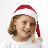 传神女孩圣诞老人 免版税图库摄影