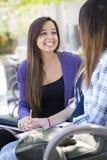 传神年轻混合的族种学生坐和谈话与朋友 免版税库存照片