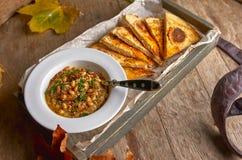 传统中东开胃菜Hummus服务用新鲜的皮塔饼面包和草本,晒干用额外处女橄榄油和辣椒粉 免版税图库摄影
