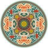 传统中国模式的玫瑰华饰 免版税库存照片
