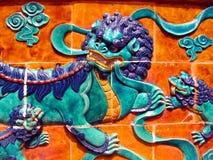 传统中国狮子的主题 免版税库存图片