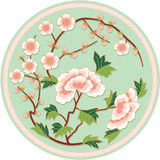传统中国花卉的模式 免版税库存图片