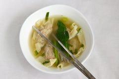 传统中国饺子的汤 库存照片