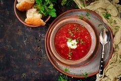 传统乌克兰俄国罗宋汤用在碗的牛肉 免版税库存图片