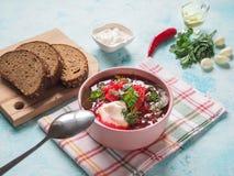 传统乌克兰俄国罗宋汤用在碗的白豆 库存照片