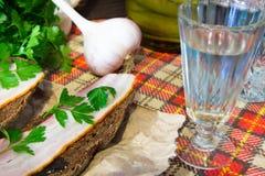 传统乌克兰和俄国开胃菜,当用餐时 食物,当喝酒精时 伏特加酒和三明治用烟肉、大蒜和p 库存照片