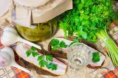 传统乌克兰和俄国开胃菜,当用餐时 食物,当喝酒精时 伏特加酒和三明治用烟肉、大蒜和p 图库摄影