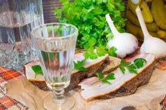 传统乌克兰和俄国开胃菜,当用餐时 食物,当喝酒精时 伏特加酒和三明治用烟肉、大蒜和p 免版税库存照片