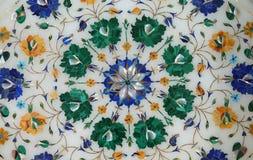 传统五颜六色的花卉大理石桌面待售,阿格拉 图库摄影