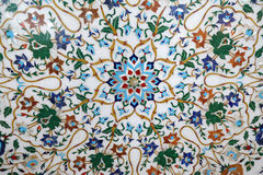 传统五颜六色的花卉大理石桌面待售,阿格拉 免版税库存照片