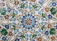 传统五颜六色的花卉大理石桌面待售,阿格拉 免版税库存图片