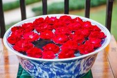传统亚洲泰国建筑室内设计:有手工制造开花的红色庭院的装饰的陶瓷瓷碗上升了 库存图片