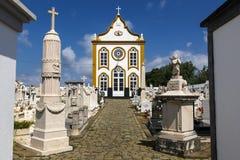 传统亚速尔群岛公墓 普腊亚da Vitoria Terceira 葡萄牙 库存图片