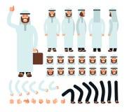 传统伊斯兰教的沙特衣裳的年轻阿拉伯人 传染媒介字符创作设置了与面孔用不同的情感和 库存例证