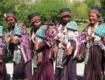 传统佛教节日ladakh的夫人 免版税库存照片