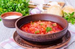 传统俄国和乌克兰甜菜汤 库存照片