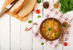 传统俄国汤用圆白菜-德国泡菜汤 免版税图库摄影