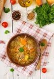 传统俄国汤用圆白菜-德国泡菜汤 图库摄影