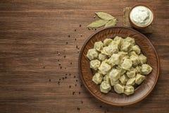 传统俄国饺子用在棕色背景的肉 顶视图 Copyspace 图库摄影