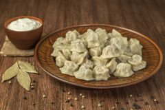 传统俄国饺子用在棕色背景的肉 Copyspace 库存照片