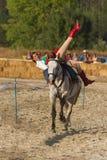 传统匈牙利马背展示在一个小村庄Vonyarcvashegy, 18 08 2013年匈牙利 图库摄影