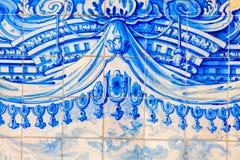 传统华丽葡萄牙装饰瓦片 库存图片