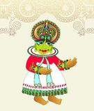 传统印地安kathakali舞蹈家原图  免版税库存照片