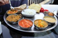 传统印第安膳食- thali 图库摄影