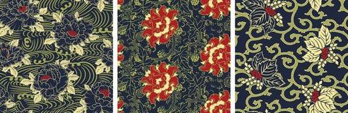 传统古色古香的中国式花卉织品墙纸 免版税库存图片
