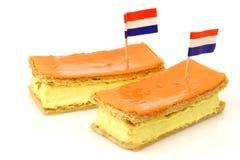 传统叫的荷兰语酥皮点心的tompouce 图库摄影