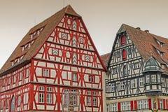 传统哥特式半木料半灰泥的房子在Rothenburg,德国 免版税库存照片
