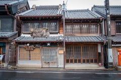 传统商店看法在佐原市村庄,日本 免版税库存图片